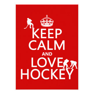 Keep Calm and Love Hockey (customize color) Personalized Invitation