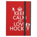Keep Calm and Love Hockey (customize color) iPad Covers