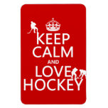 Keep Calm and Love Hockey (customize color) Flexible Magnets