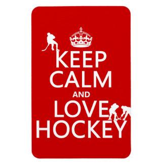 Keep Calm and Love Hockey (customize color) Rectangular Photo Magnet