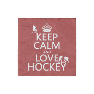 Keep Calm and Love Hockey (customize color) Stone Magnet