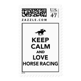 Keep calm and love horse racing stamp