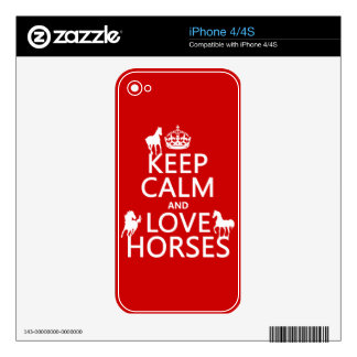 Keep Calm and Love Horses - all colors Decals For The iPhone 4S