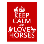 Keep Calm and Love Horses - all colors Postcard
