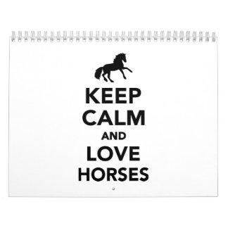 Keep calm and love horses calendar