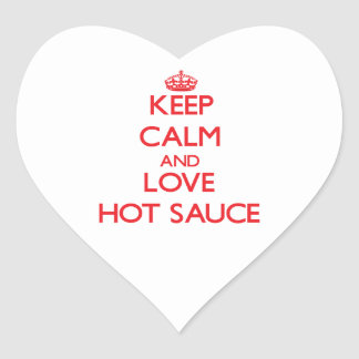 Keep calm and love Hot Sauce Heart Stickers