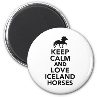 Keep calm and love Iceland horses 2 Inch Round Magnet