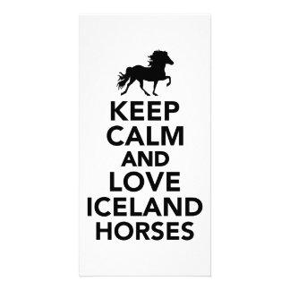 Keep calm and love Iceland horses Photo Card