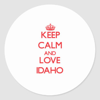 Keep Calm and Love Idaho Round Sticker