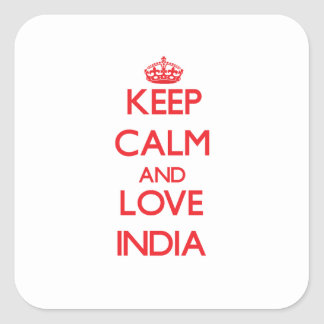 Keep Calm and Love India Square Sticker