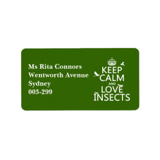 Keep Calm and Love Insects (any background colour) Address Label