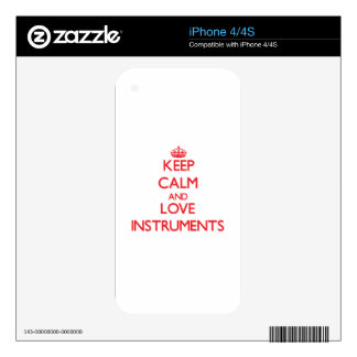Keep calm and love Instruments Skins For The iPhone 4