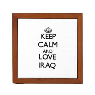 Keep Calm and Love Iraq Desk Organizer