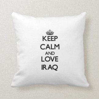 Keep Calm and Love Iraq Throw Pillow