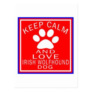 Keep Calm And Love Irish Wolfhound Postcard