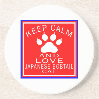 Keep Calm And Love Japanese Bobtail Beverage Coasters