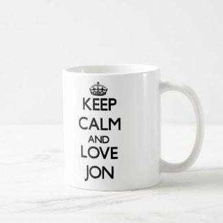 Keep Calm and Love Jon Coffee Mugs