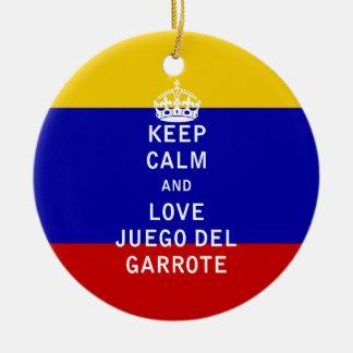 Keep Calm and Love Juego del Garrote Ceramic Ornament