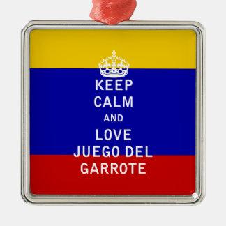 Keep Calm and Love Juego del Garrote Metal Ornament