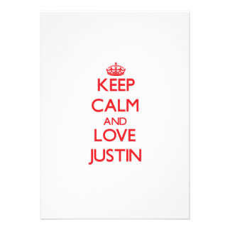 Keep Calm and Love Justin Personalized Invitations
