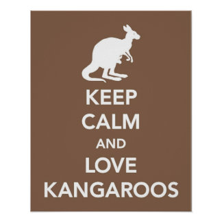 Keep Calm and Love Kangaroos print or poster