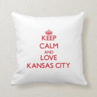 Keep Calm and Love Kansas City Throw Pillow