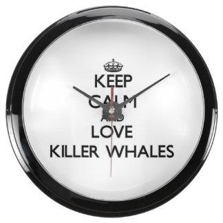 Keep calm and Love Killer Whales Aquarium Clock