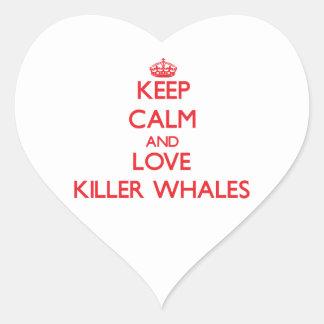 Keep calm and love Killer Whales Heart Sticker