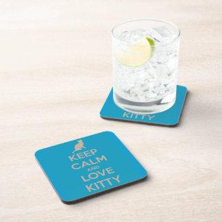 Keep Calm and Love Kitty Beverage Coaster
