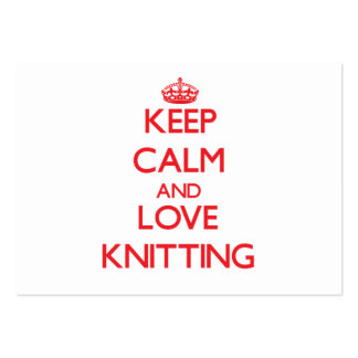 Keep calm and love Knitting Large Business Cards (Pack Of 100)