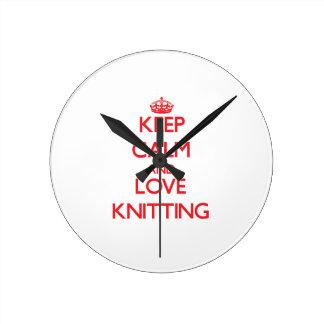 Keep calm and love Knitting Round Wall Clock