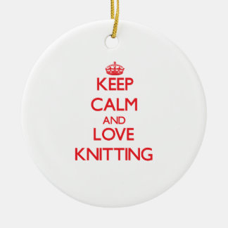 Keep calm and love Knitting Double-Sided Ceramic Round Christmas Ornament