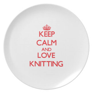Keep calm and love Knitting Dinner Plates