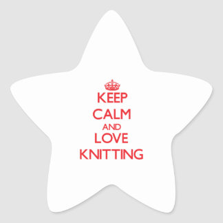 Keep calm and love Knitting Star Sticker