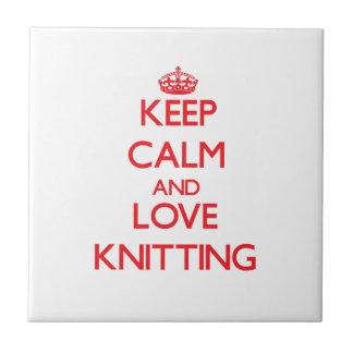 Keep calm and love Knitting Ceramic Tile