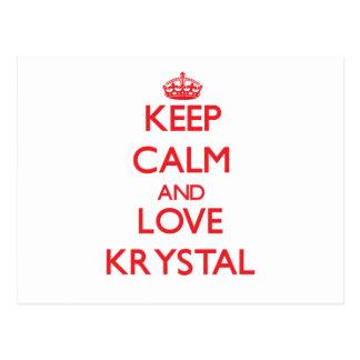 Keep Calm and Love Krystal Postcard