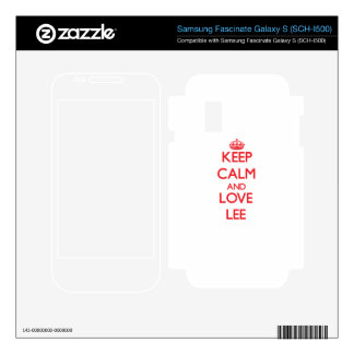 Keep calm and love Lee Samsung Fascinate Decals