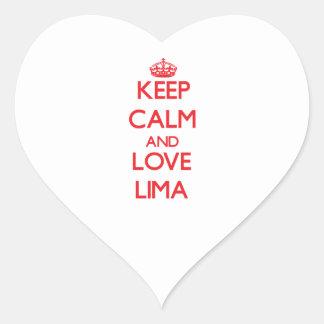 Keep Calm and Love Lima Heart Sticker