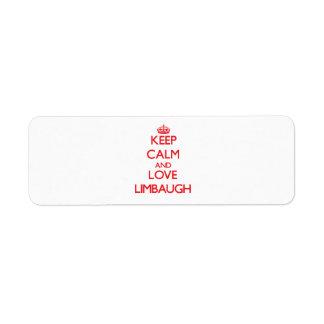 Keep calm and love Limbaugh Return Address Label