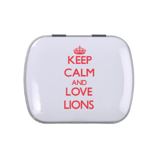 Keep calm and love Lions Jelly Belly Candy Tins