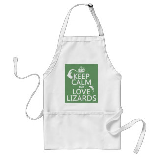 Keep Calm and Love Lizards - all colors Adult Apron