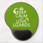 "Keep Calm and Love Lizards - all colors Gel Mouse Pad<br><div class=""desc"">This reads Keep Calm and Love Lizards, in the style of the classic poster. It is decorated with the silhouettes of two lizards crawling beside the words. It&#39;s a great clean design, and a perfect gift for anyone who loves lizards. You can change the background colour really easily, just press...</div>"