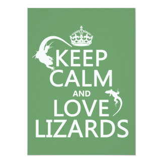 Keep Calm and Love Lizards - all colors Personalized Invitation