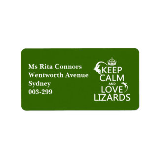 Keep Calm and Love Lizards - all colors Label
