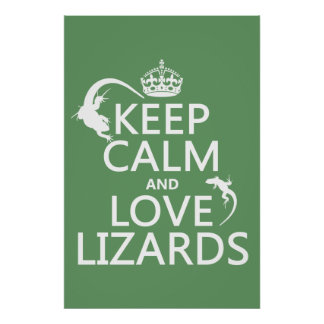 Keep Calm and Love Lizards - all colors Poster