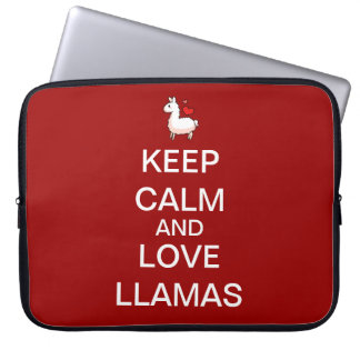 Keep Calm and Love Llamas Computer Sleeve