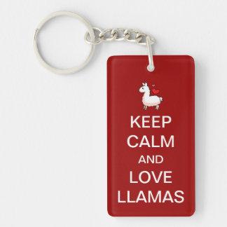 Keep Calm and Love Llamas Single-Sided Rectangular Acrylic Keychain