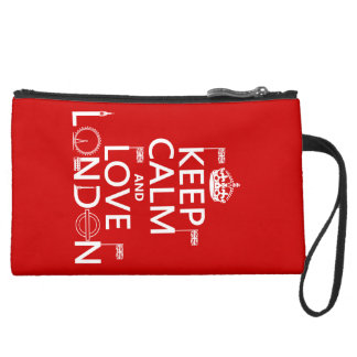 Keep Calm and Love London (any background color) Suede Wristlet Wallet