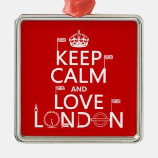 Keep Calm and Love London Metal Ornament