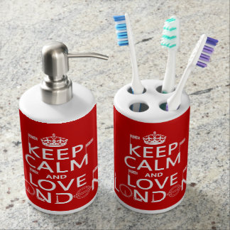 Keep Calm and Love London Soap Dispenser And Toothbrush Holder